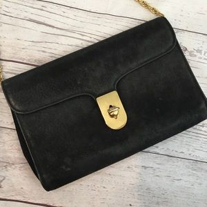VINTAGE Black Suede Twist Lock Chain Strap Purse